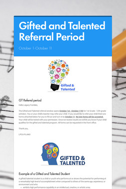 Gifted and Talented Referral Period