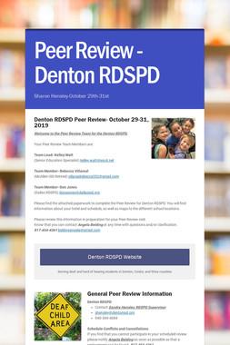 Peer Review -Denton RDSPD