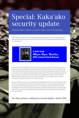 Special: Kaka'ako security update