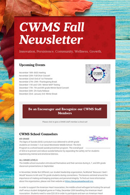 CWMS Fall Newsletter