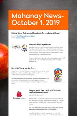 Mahanay News- October 1, 2019