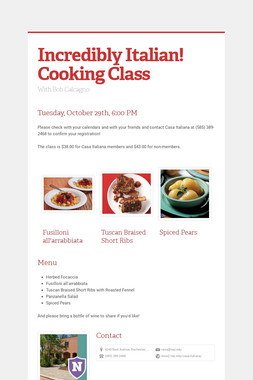 Incredibly Italian! Cooking Class