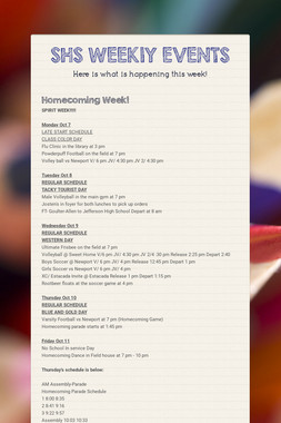 SHS WEEKlY EVENTS