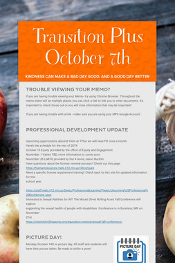 Transition Plus   October 7th