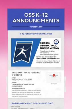 OSS K-12 Announcments