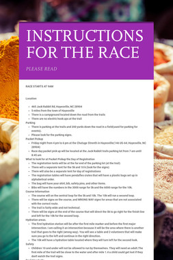 INSTRUCTIONS FOR THE RACE