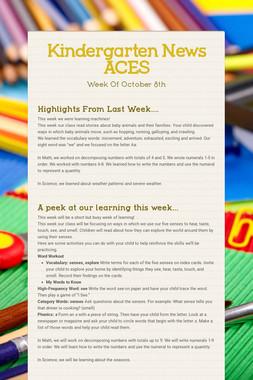 Kindergarten News ACES