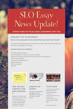 SLO Essay News Update!