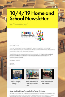 10/4/19 Home and School Newsletter