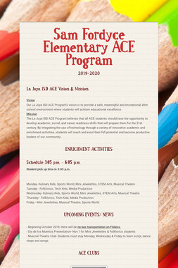 Sam Fordyce Elementary ACE Program