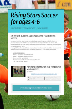 Rising Stars Soccer for ages 4-6