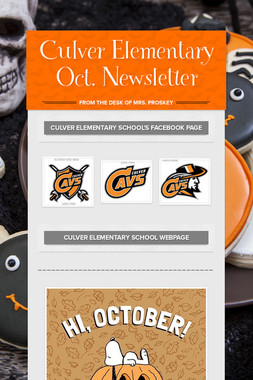 Culver Elementary Oct. Newsletter