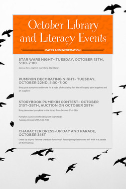 October Library and Literacy Events