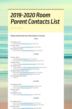 2019-2020 Room Parent Contacts List
