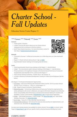 Charter School -       Fall Updates
