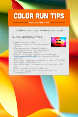 Color Run Tips