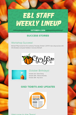 E&L Staff Weekly Lineup