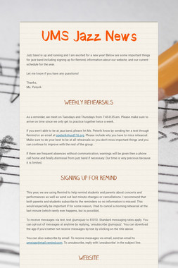 UMS Jazz News