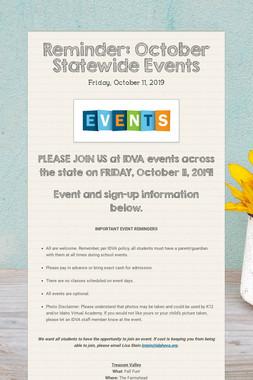 Reminder: October Statewide Events