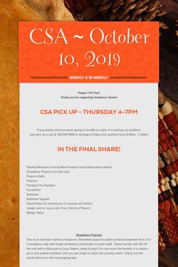 CSA ~ October 10, 2019