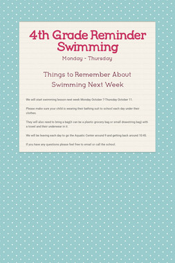 4th Grade Reminder  Swimming