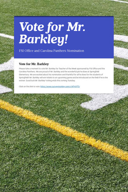 Vote for Mr. Barkley!