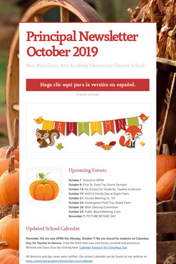 Principal Newsletter October 2019