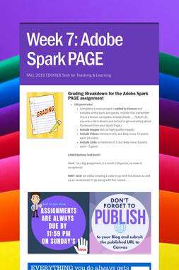 Week 7: Adobe Spark PAGE