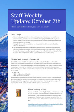 Staff Weekly Update: October 7th