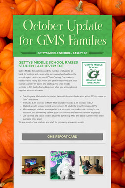 October Update for GMS Families