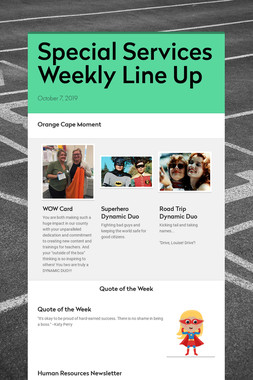 Special Services Weekly Line Up