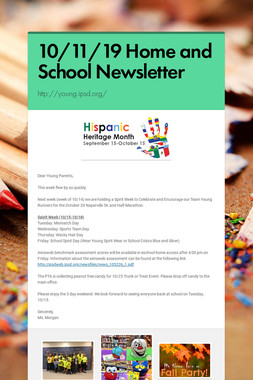 10/11/19 Home and School Newsletter