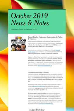 October 2019 News & Notes