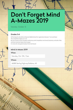 Don't Forget Mind A-Mazes 2019