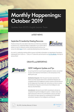 Monthly Happenings: October 2019