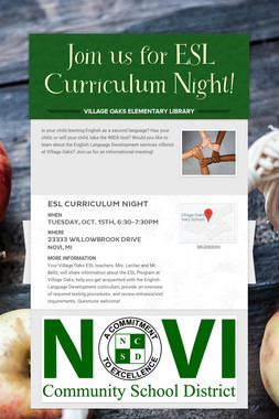 Join us for ESL Curriculum Night!