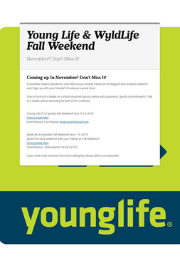 Young Life & WyldLife Fall Weekend
