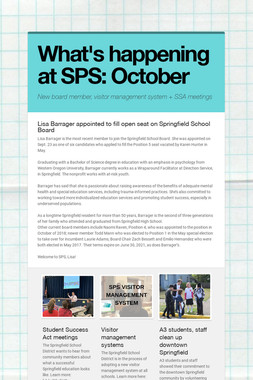 What's happening at SPS: October
