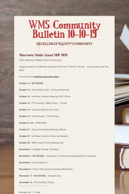 WMS Community Bulletin 10-10-19