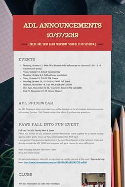 ADL Announcements 10/17/2019