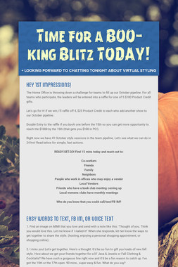 Time for a BOO-king Blitz TODAY!