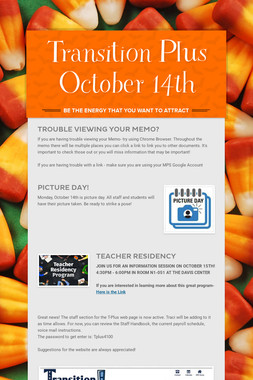 Transition Plus   October 14th