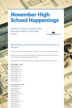November High School Happenings
