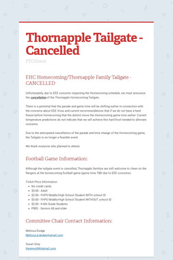 Thornapple Tailgate - Cancelled
