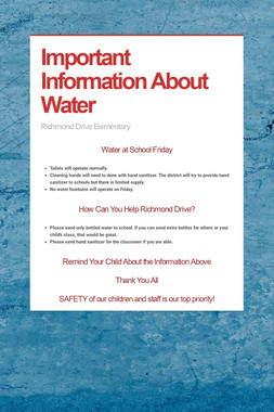 Important Information About Water