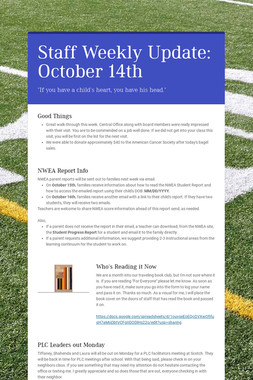 Staff Weekly Update: October 14th