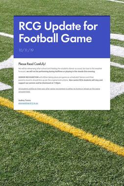 RCG Update for Football Game