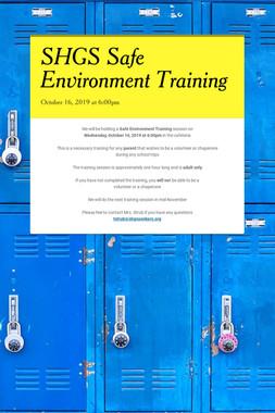 SHGS Safe Environment Training
