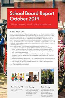 School Board Report October 2019