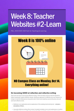Week 8: Teacher Websites #2-Learn